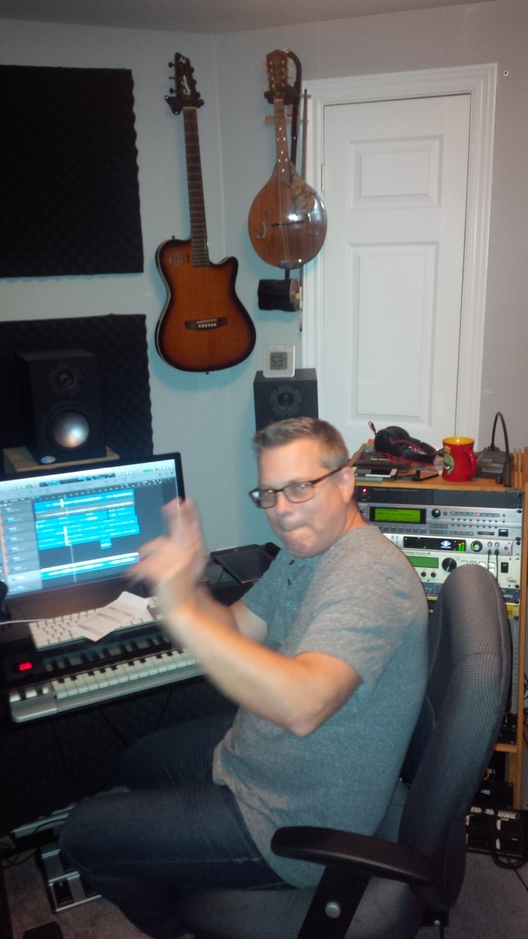 Producer Peter Boshart waving the wand and making some magic.